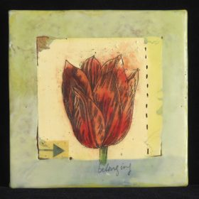 belongingencaustic/collage/photocopy transfer  A theme I've been exploring this summer, the idea of belonging... where do  we feel we can be ourselves, what constitutes 'home'?  The tulip is at home where it can grow, belonging to the earth.