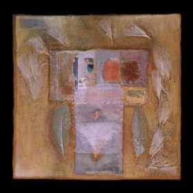 "more than meets the eyeencaustic/mixed media/collage - 8""x8"" (2001)Many layers cover the elements partially hidden in this painted collage. Looking closely reveals the images below."