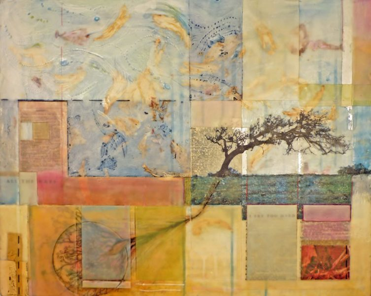 bent into shape - encaustic/collage - Here I went back to an image that has inspired me in the past... a tree that is so bent by wind.  Is it bent into shape?  Out of shape?  Regardless, that is now its shape.  There is something for me to learn from this tree.